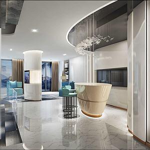 现代大厅模型
