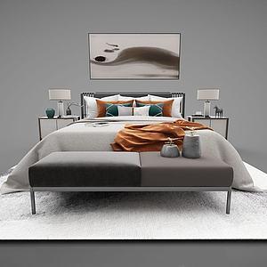 新中式双人床模型