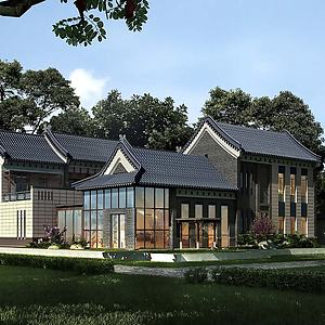 新中式别墅建筑模型3d模型