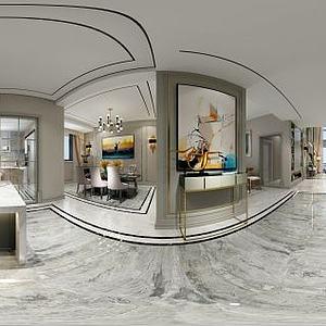 美式风格餐厨空间模型