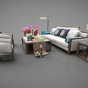 新中式沙发茶几组合模型3d模型
