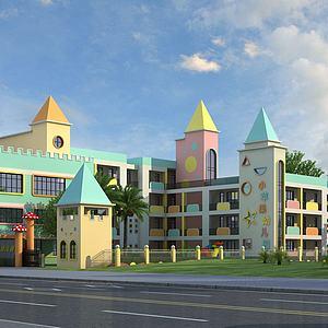 现代幼儿园模型