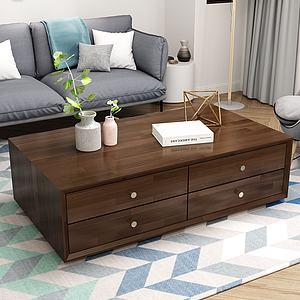 現代簡約茶幾沙發組合實木3d模型