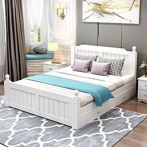 現代簡歐實木床3d模型