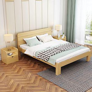 現代簡約實木床3d模型