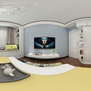 现代北欧卧室模型