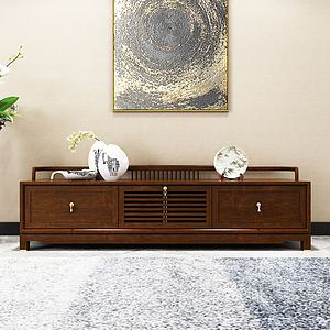 新中式电视柜模型3d模型