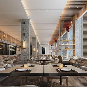 3d现代风格餐厅模型