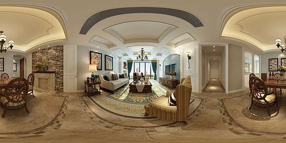 3d欧式客厅全景模型