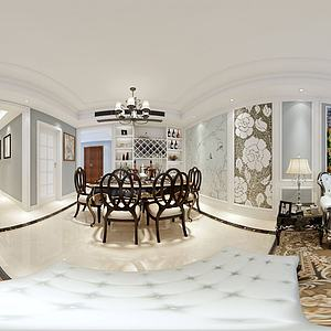 欧式风格客餐厅模型