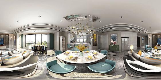 3d现代风格客餐厅模型