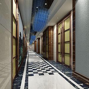 电梯过道3d模型