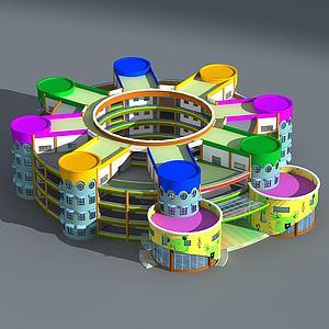 现代幼儿园大楼模型3d模型