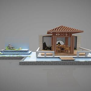 3d新中式亭子模型