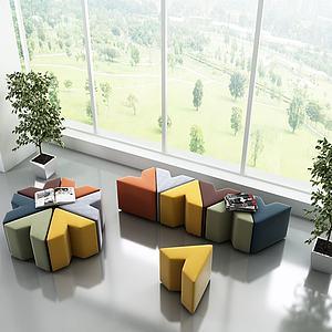 現代幾何沙發組合3d模型