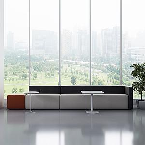 現代休閑軟體沙發茶幾3d模型