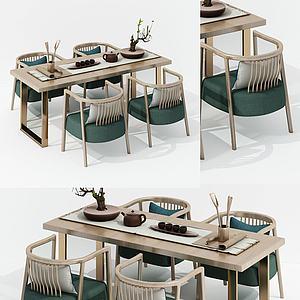 北歐茶桌椅組合3d模型