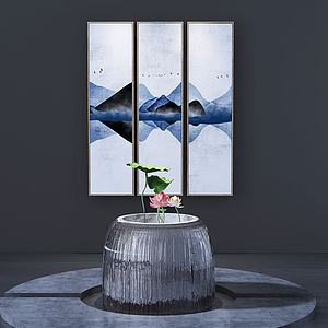 現代荷花壇壁畫組合3d模型