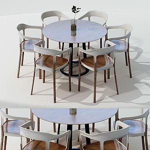 現代木色餐桌椅組合3d模型