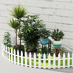 現代盆栽綠植草地柵欄組合3d模型