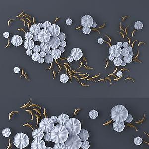 現代墻飾花朵與魚兒3d模型