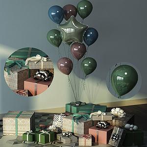 現代清新禮物擺件組合3d模型