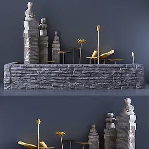 現代飾品雕塑組合3d模型