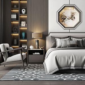 3d现代床具组合模型