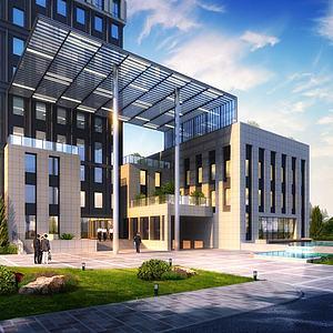 办公楼入口模型3d模型