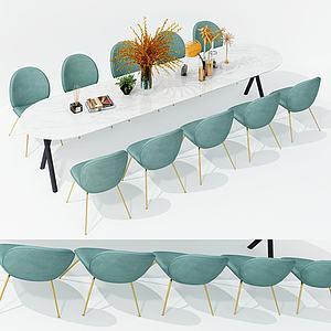現代休閑會議桌3d模型