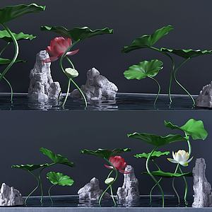 現代裝飾小池塘3d模型