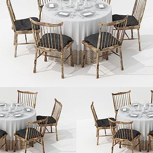 新中式純木餐桌椅3d模型