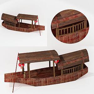 新中式木船擺件3d模型
