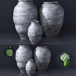 新中式陶罐擺件3d模型
