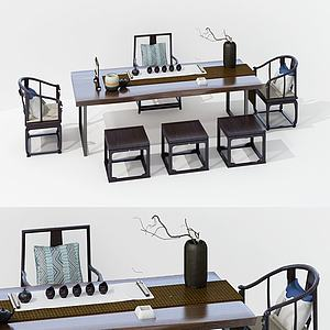 新中式茶桌椅組合3d模型
