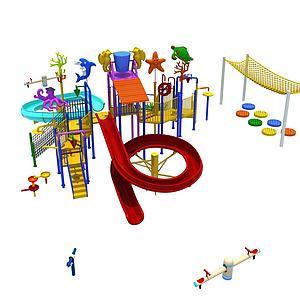 水上乐园滑滑梯3d模型