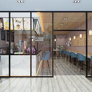 3d现代简约奶茶店模型