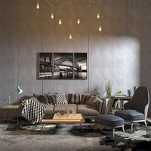 3d现代组合沙发模型