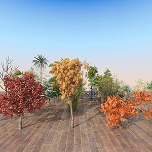 現代室外樹木組合3d模型