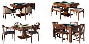 新中式麻将桌模型3d模型