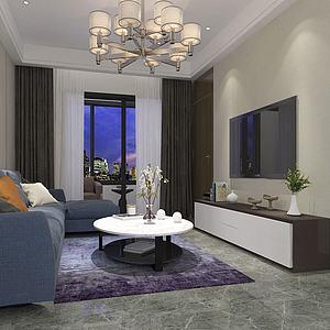 現代客廳3d模型