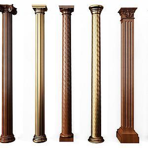歐式羅馬柱組合3d模型