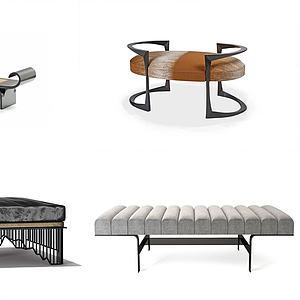 新中式凳組合3d模型