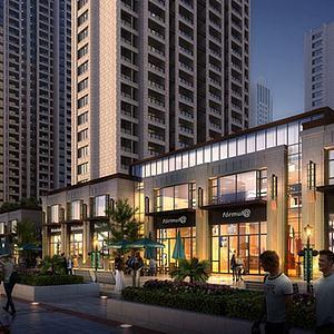 3d現代中式商業街模型