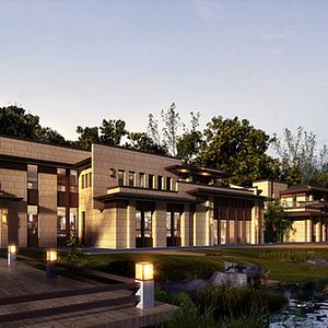 3d中式会所酒店模型
