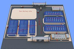 工业厂房建筑鸟瞰模型模型