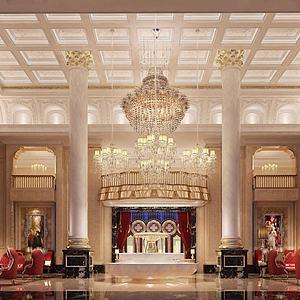 歐式奢華酒店會所大堂模型3d模型