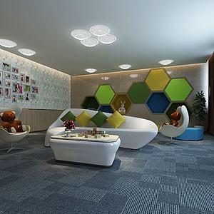 现代儿童休息区3d模型