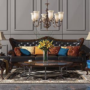 美式沙发茶几模型3d模型