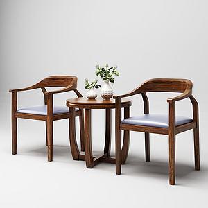 新中式桌椅3d模型